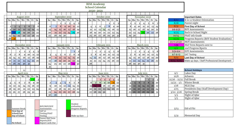 Academic Calendar 2021-2022